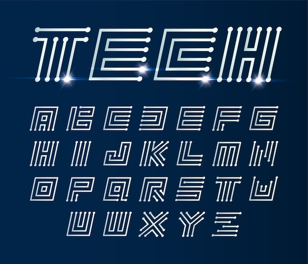 Font maze italic, vector geometric alphabet on dark blue