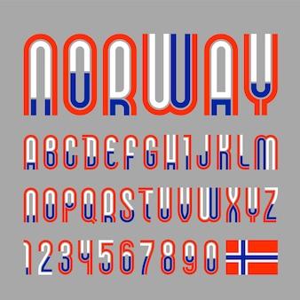 글꼴 노르웨이. 트렌디 한 밝은 알파벳