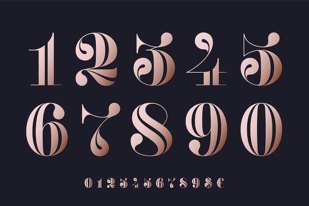 古典的なフランスのディドーンまたは現代的な幾何学的デザインのディドーンスタイルの数字のフォント。