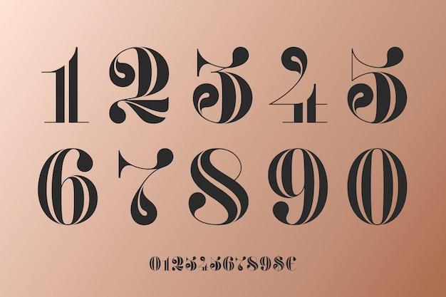 古典的なフランスのディドの数字のフォント
