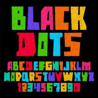 Шрифт бумаги вырезать черными точками