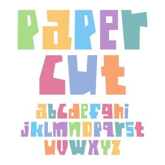 Шрифт вырезанный из бумаги строчные пастельные тона
