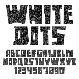 Font paper cut white dots, uppercase
