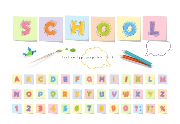 Font pencil crayon for kids.