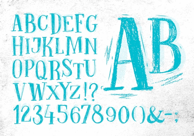 Font pencil vintage in blue color