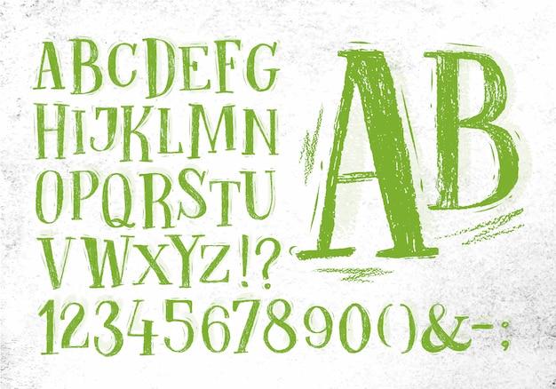 Font pencil vintage in green color
