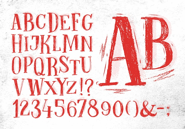 Font pencil vintage in red color