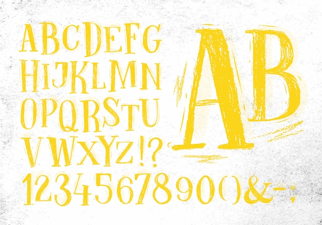 Font pencil vintage in yellow color