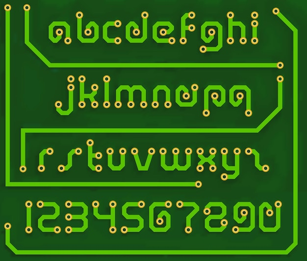 Font print circuit board in the form of alphabet letters and numbers. alphabet vector stock illustration