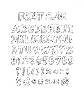 Font set of letters and symbols