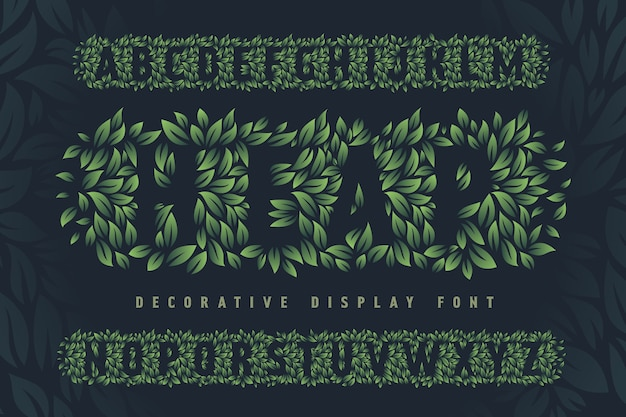 녹색 잎으로 만든 글꼴 세트
