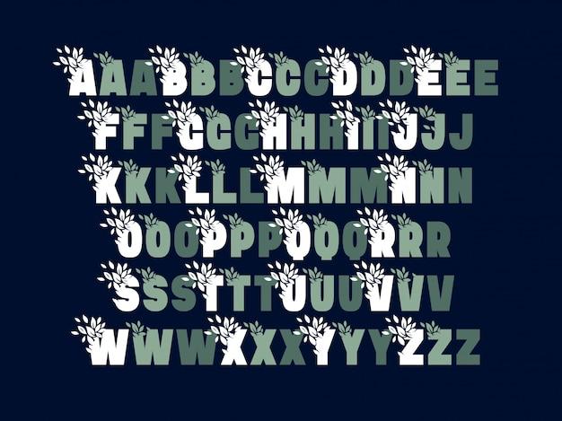 Набор шрифтов с украшением листьев