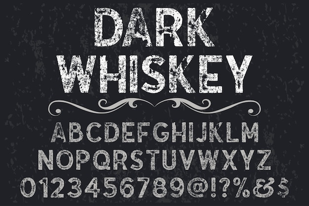 Font shadow effect label design dark whiskey