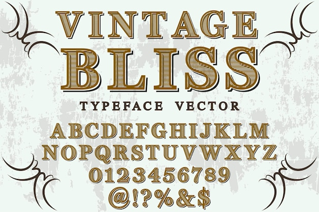 Font shadow effect label design vintage bliss