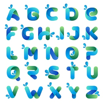 Font style, alphabet with eco, water and nature theme