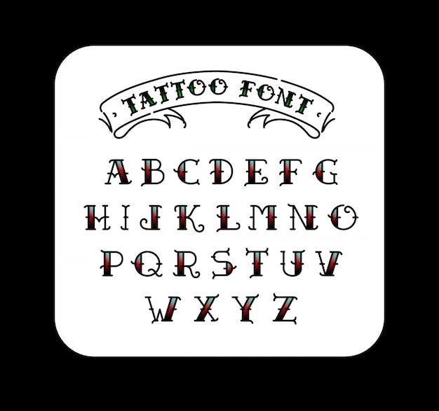Font in the style of the old school tattoo