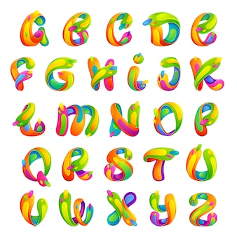 Font style, text effect, colorful letters.
