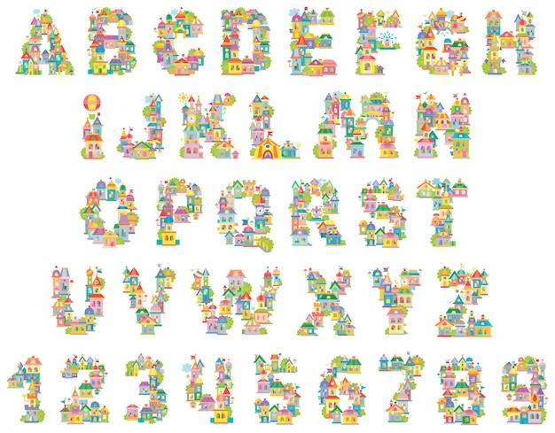 フォントおもちゃの町カラフルな家で作られた英語のアルファベットと数字