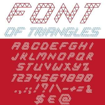 Font triangles . typography digital . creative linear typeface.