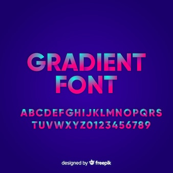 Font with alphabet in gradient style