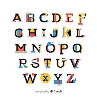 Шрифт с алфавитом в стиле ретро Premium векторы