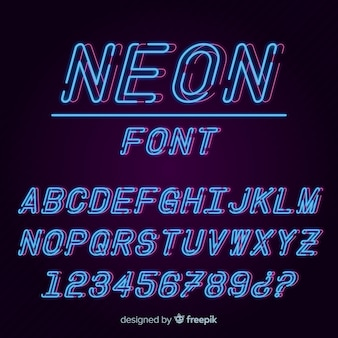Font with alphabet in neon style