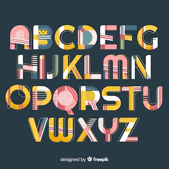 Font with alphabet in retro style