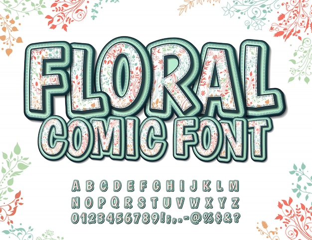 Font with floral pattern