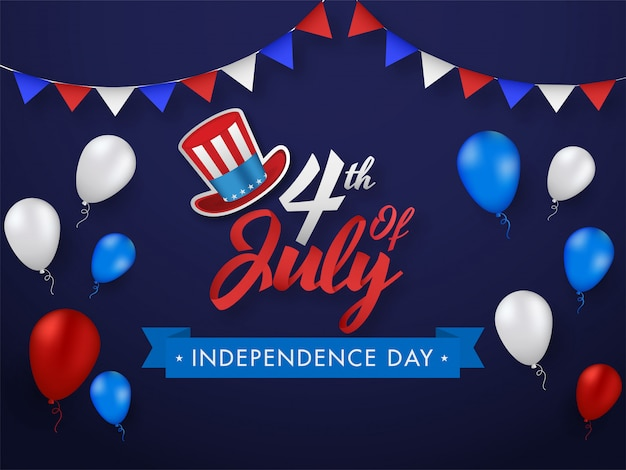 Font with uncle sam hat, glossy balloons and bunting flags decorated on purple background for independence day concept.