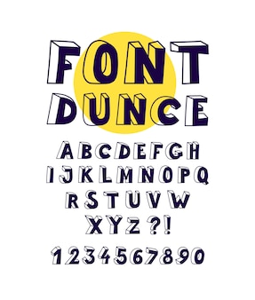 Font with volumetric linear letters.