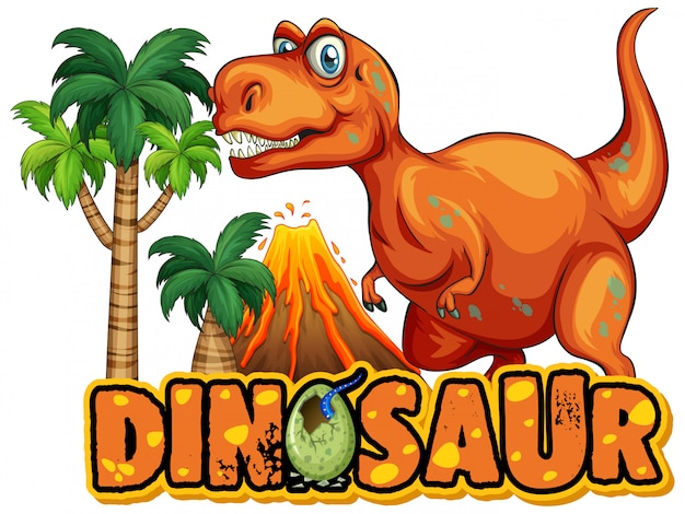 Font  for word dinosaur with scary tyrannosaurus rex