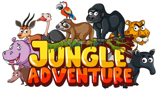 Font for word jungle adventure with wild animals