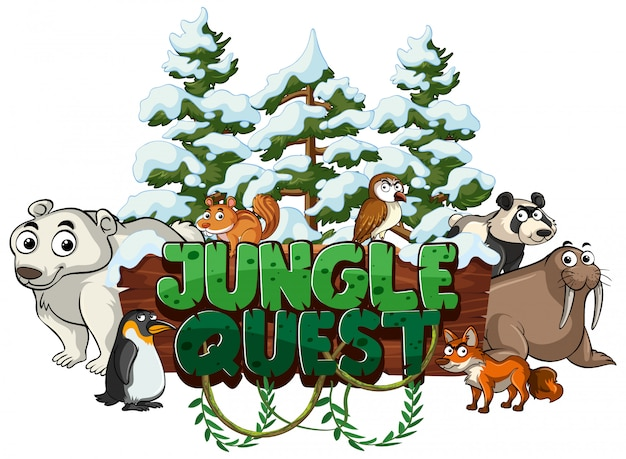 Font for word jungle quest with animals in winter