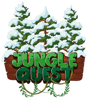 Font for word jungle quest with snow on the trees