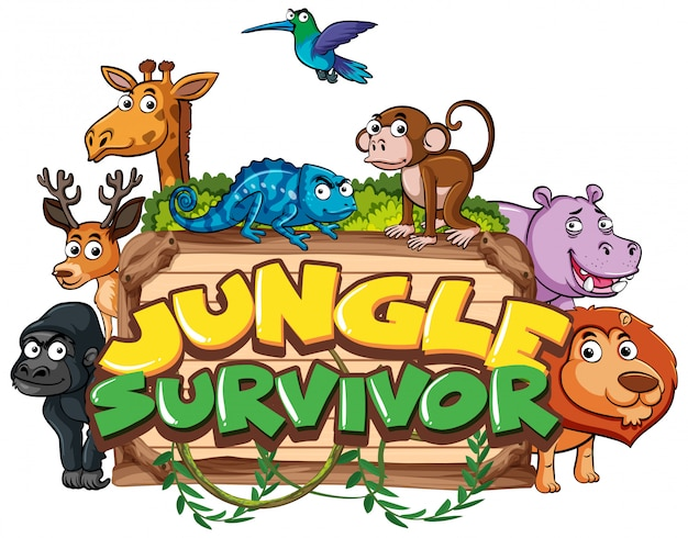 Font for word jungle survivor with wild animals