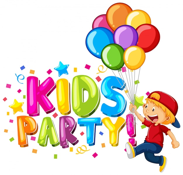 Font  for word kids party with happy kids