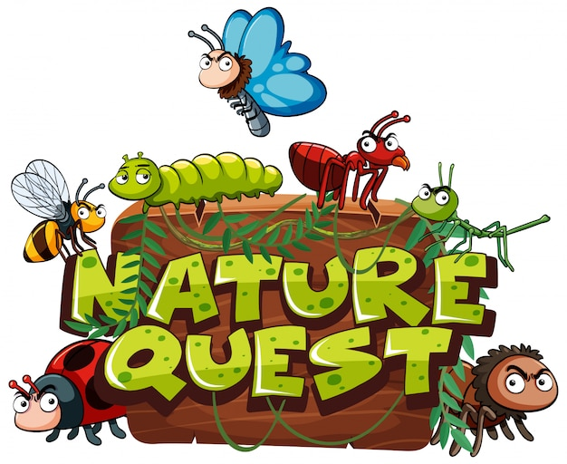 Font for word nature quest with many bugs