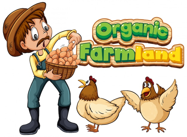 Font  for word organic farmland with farmer and chickens