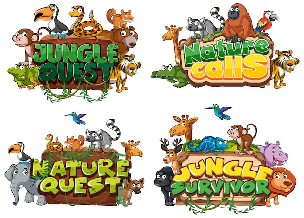 Font for word related to nature with wild animals