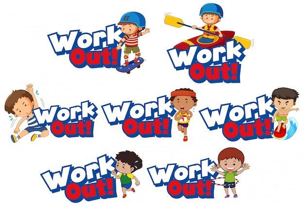 Font  for word work out with kid doing exercise