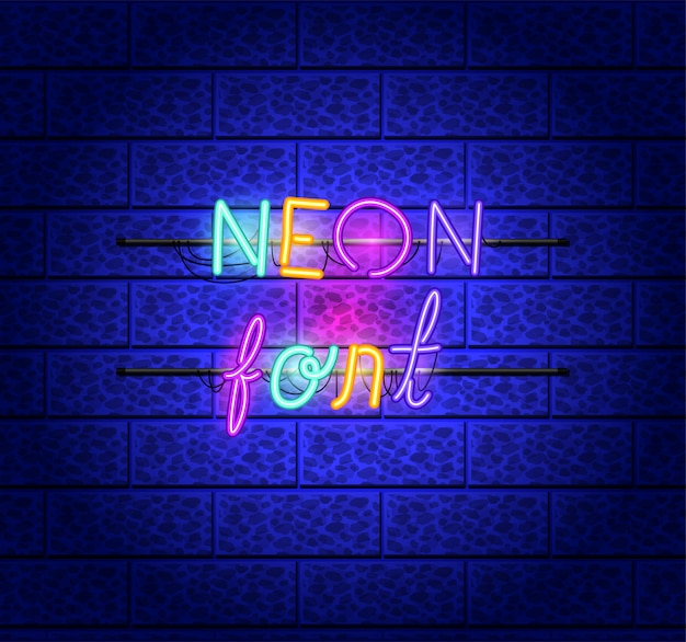 Fonts neon lights icons