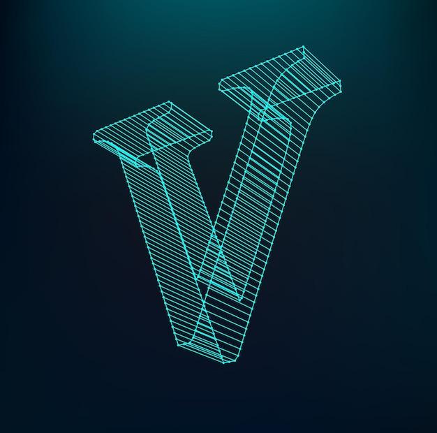 多角形のメッシュのフォント。ワイヤーフレームの輪郭のアルファベット。