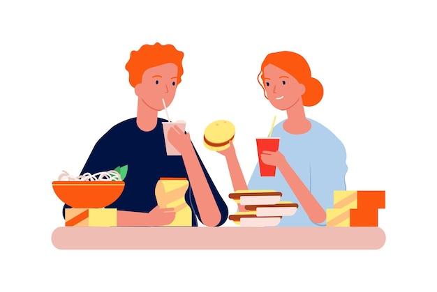 음식 중독. 정크 먹는 남자 여자.
