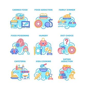 Food addiction set icons