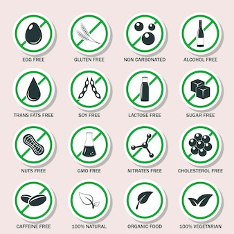 Food allergen icons set illustration