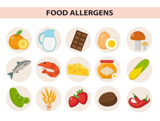 Плоский набор пищевых аллергенов. продукты от аллергии, пищевая аллергия. изолированные на белом фоне. иллюстрация.