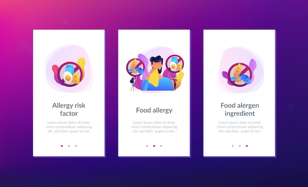 Food allergy app interface template.