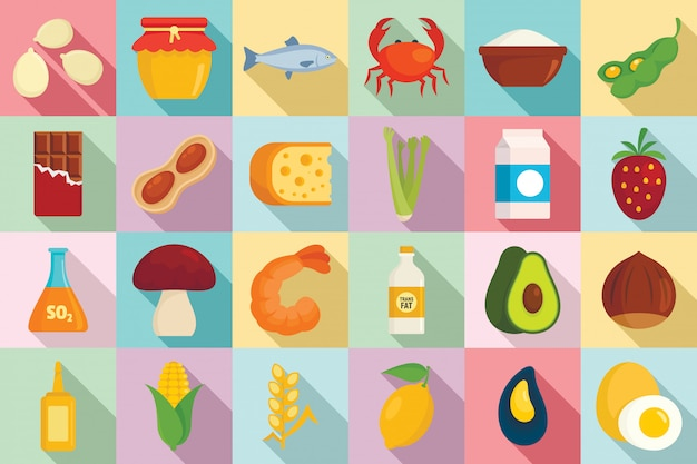 Food allergy icons set, flat style
