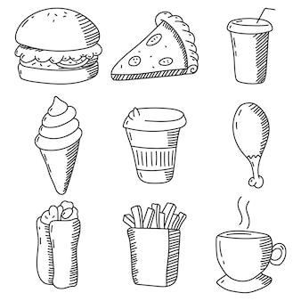 Набор эскизов продуктов питания и напитков, изолированные на белом фоне.