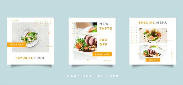 食品と料理のソーシャルメディアフィードポストプロモーションデザインベクトルコレクション